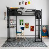 Lit mezzanine Dorel Kool avec bureau, 1 place, noir | Dorelnull