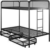 Dorel Kool Twin/Twin Bunk Bed with Storage, Black | Dorelnull