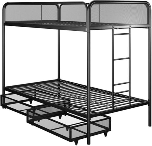 Dorel Kool Twin/Twin Bunk Bed with Storage, Black Product image