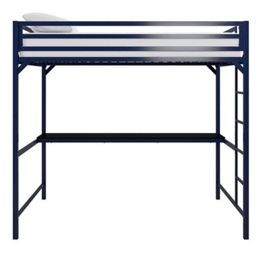 Lit mezzanine en métal Dorel Kool avec bureau, 2 places, bleu Image de l'article