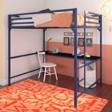 Lit mezzanine en métal Dorel Kool avec bureau, 2 places, bleu | Dorelnull