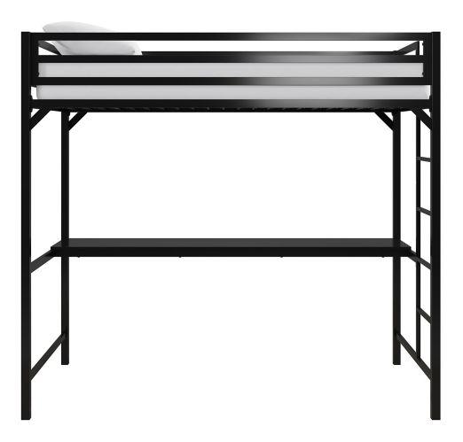 Lit mezzanine en métal Dorel Kool avec bureau, 1 place, noir Image de l'article