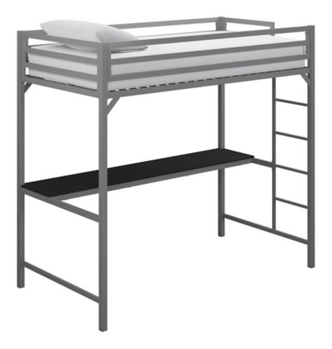 Dorel Kool Metal Twin Loft Bed with Desk, Silver Product image