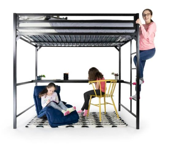 Dorel Kool Metal Twin Loft Bed with Desk, Blue Product image