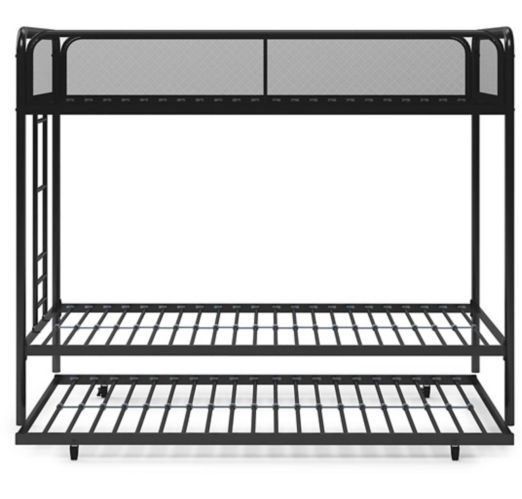 Dorel Triple Twin Bunk Bed with Trundle, Black Product image