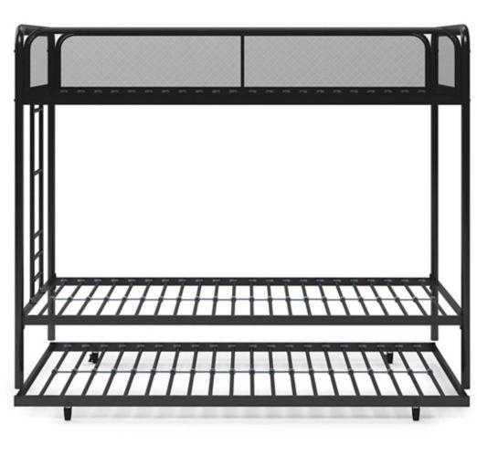 Lit superposé triple Dorel avec système de tiroir, 1 place/1 place/1 place, noir Image de l'article