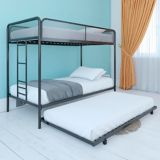Dorel Triple Twin Bunk Bed with Trundle, Black | Dorelnull