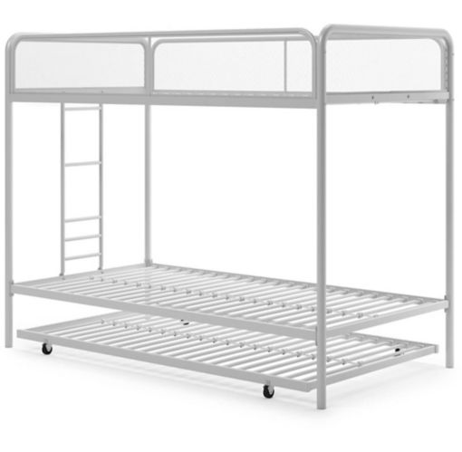 Dorel Triple Twin Bunk Bed with Trundle, White Product image