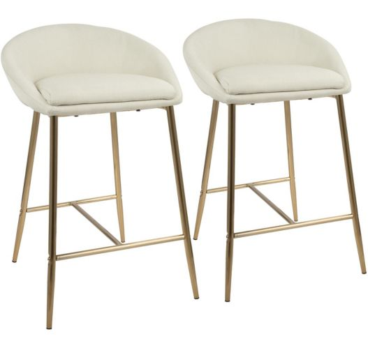 LumiSource Matisse Counter Stool Set, Gold/Cream, 2-pc Product image