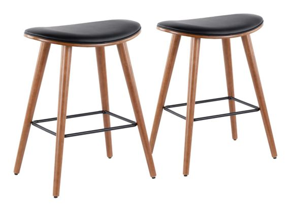LumiSource Saddle Counter Stool Set, Walnut/Black, 2-pc Product image