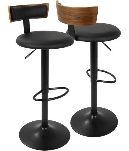 Tabouret de bar LumiSource Weller, noir/noyer Image de l'article