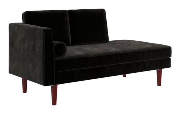 Dorel Clubhouse Modern Upholstered Daybed/Chaise, Black Product image