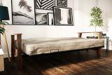 Dorel Comfort Wood Arm Futon with Coil Mattress, Beige | Dorelnull