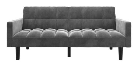 Dorel Comfort Convertible Sofa Sleeper Futon with Arms, Grey Product image