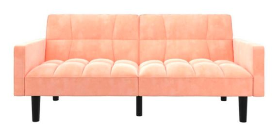 Dorel Comfort Convertible Sofa Sleeper Futon with Arms, Pink Product image