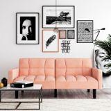 Dorel Comfort Convertible Sofa Sleeper Futon with Arms, Pink | Dorelnull