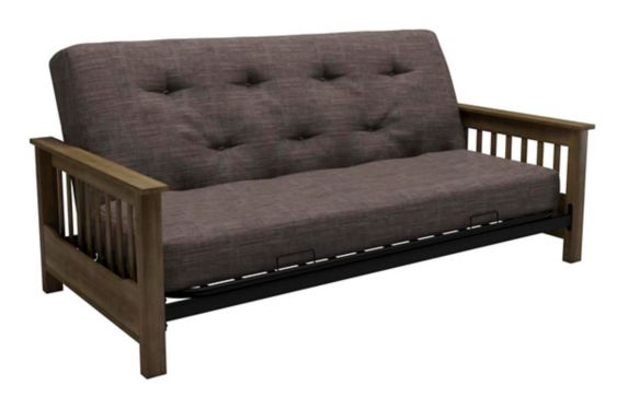 Dorel Comfort Wood Arm Futon with Coil Mattress, Grey Product image
