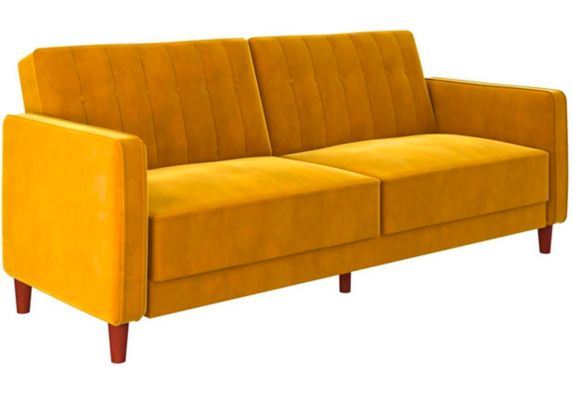 Dorel Comfort Tufted Transitional Futon, Mustard Product image