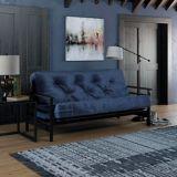 Dorel Comfort Espresso Wood Arm Futon with Coil Mattress, Tan | Dorelnull