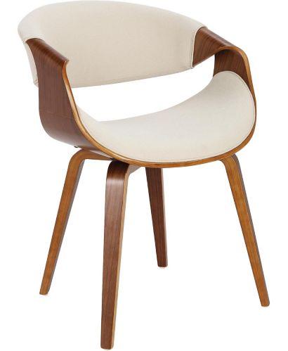 LumiSource Curvo Mid-Century Dining/Accent Chair, Walnut/Cream Product image