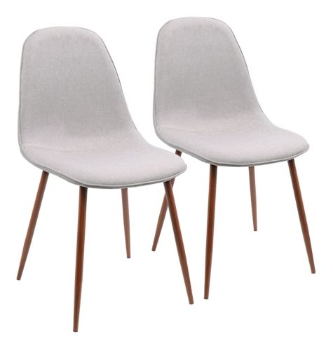 LumiSource Pebble Dining/Accent Chair Set, Walnut/Grey, 2-pc Product image