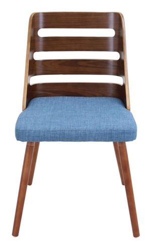 LumiSource Trevi Upholstered Accent Chair, Walnut/Blue Product image