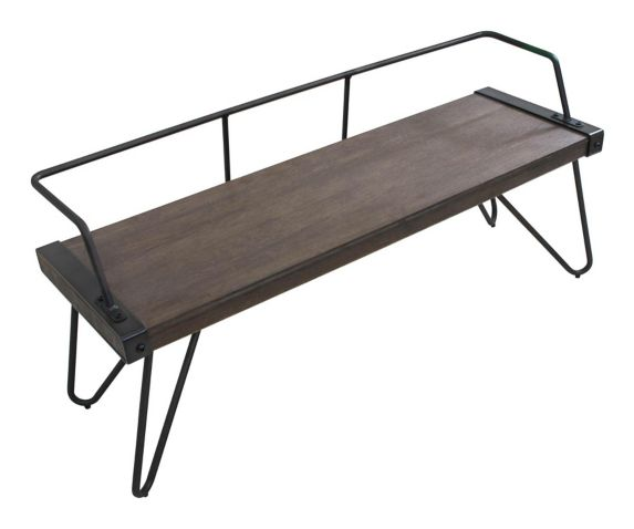 Banc LumiSource Stefani, style industriel, antique/noyer Image de l'article