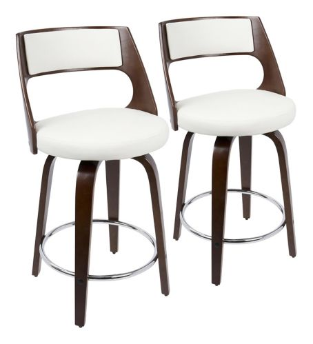 LumiSource Cecina Swivel Bar Stool Set, Cherry/White, 2-pc Product image