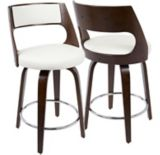 LumiSource Cecina Swivel Bar Stool Set, Cherry/White, 2-pc | LumiSourcenull