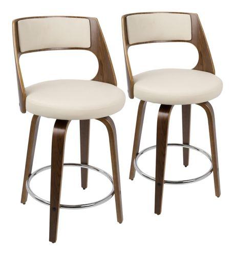 LumiSource Cecina Swivel Bar Stool Set, Walnut/Cream, 2-pc Product image