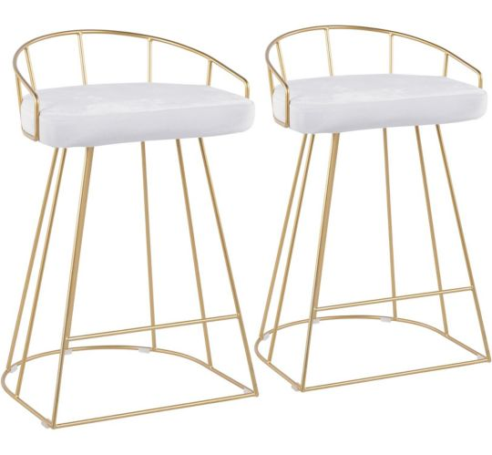 LumiSource Canary Contemporary Counter Stool Set, Gold/White, 2-pc Product image