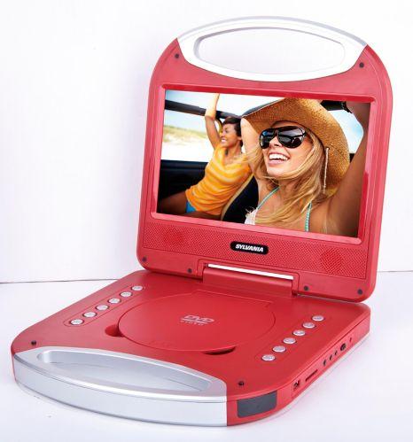 Lecteur DVD port. Sylvania, poignée intégrée, rouge, 10 po Image de l'article