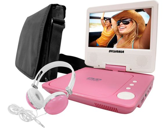 Sylvania Portable DVD Player with Swivel Screen & Headphones, Pink, 7-in Product image