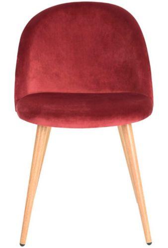 Chaise de salle à dîner en velours 39F Zomba Diamond, rouge Image de l'article