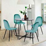 39F Charlton Velvet Dining Chair, Aqua | Warnnull