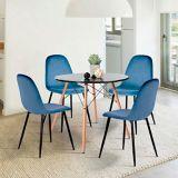 Chaise de salle à manger en velours 39F Charlton, bleu | Whooshnull