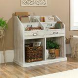 Sauder Barrister Lane Divided Bookcase, White Plank | Saudernull