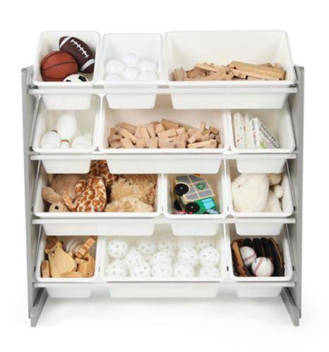 Humble Crew Kids' Toy Storage Organizer with 12 Plastic Bins, Grey/White Product image