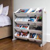 Humble Crew Kids' Toy Storage Organizer with 12 Plastic Bins, Grey/White | Vendornull
