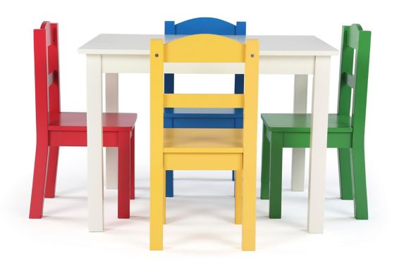 Humble Crew Kids' Wood Table & 4-Chair Set, White/Primary Product image