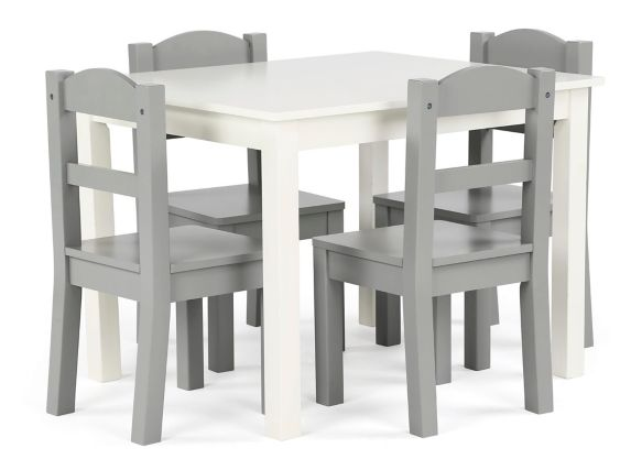 Humble Crew Kids' Wood Table & 4-Chair Set, Grey/White Product image