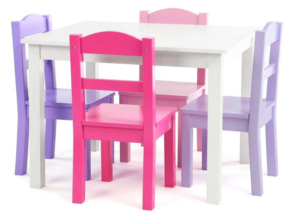 Humble Crew Kids' Wood Table & 4-Chair Set, White/Purple Product image