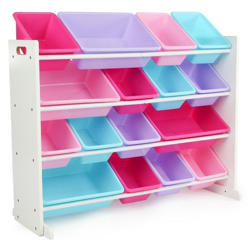 Humble Crew Super-Sized Toy Storage Organizer with 16 Storage Bins, White/Purple Product image