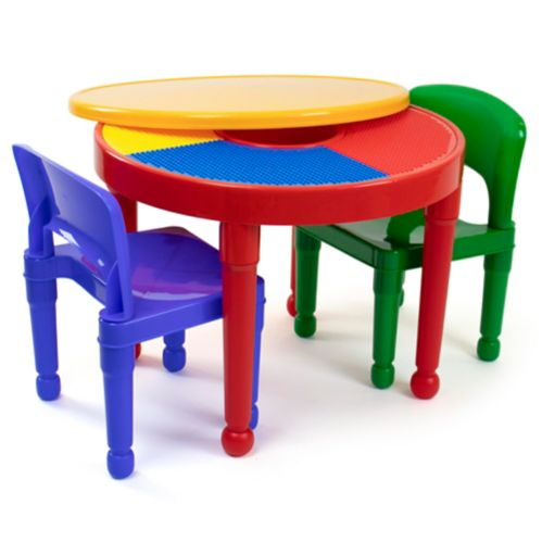 Humble Crew Kids' 2-in-1 Plastic Activity Table & 2-Chair Set, Red Product image