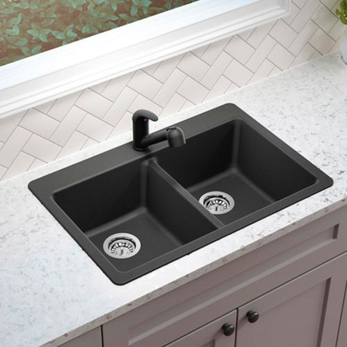 Corence Granite Composite Double Bowl Kitchen Sink, Black Product image