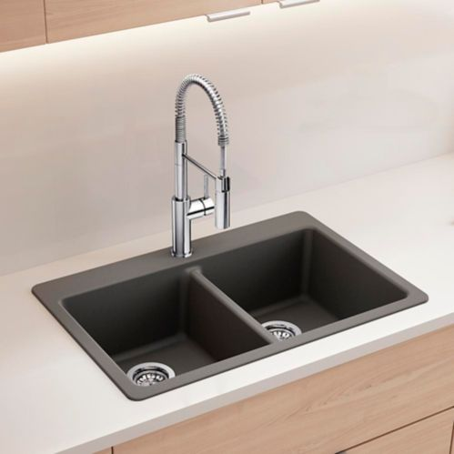 Corence Granite Composite Double Bowl Kitchen Sink, Charcoal Product image