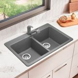 Corence Granite Composite Double Bowl Kitchen Sink, Silver   Blanconull