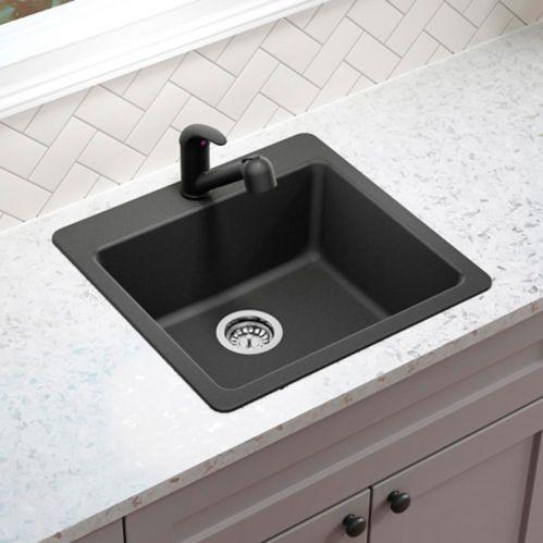 Corence Granite Composite Single Bowl Kitchen Sink, Black Product image