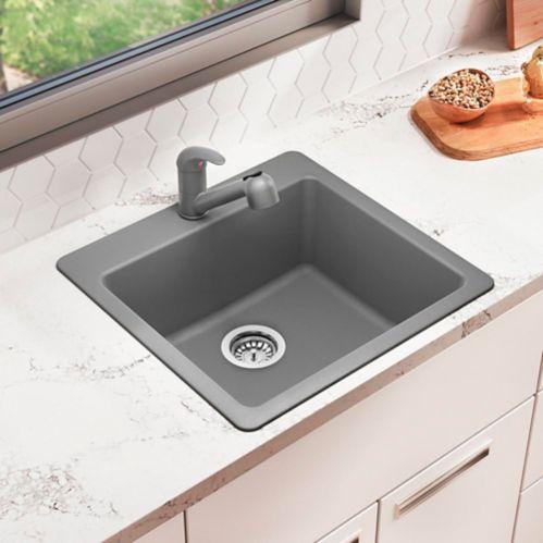 Évier de cuisine simple Corence, composite granit, argent Image de l'article