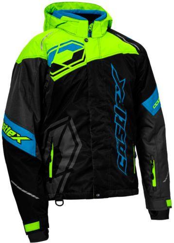 Castle X Code Snowmobile Jacket Hi-Vis, Black/ Blue Product image